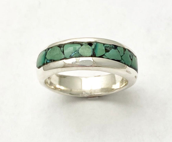 Turquoise Mosaic Inlay in Sterling Silver Band by Rubini Jewelers.