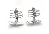 Sculler Quad Rowing Boat Cuff Links Sterling Silver made by Rubini Jewelers