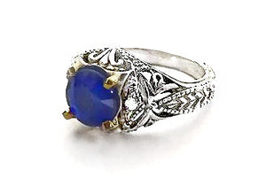 Sterling Silver and 14Kt Gold Faux Sapphire with Diamonds Antique Reproduction Ring by Rubini Jewelers
