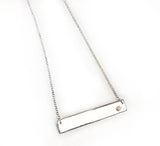 Sterling Silver Bar Necklace with Diamond in 14Kt Yellow Gold by Rubini Jewelers