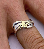 14Kt Gold Single Sculler, Diamonds and Sapphire Rowing Ring by Rubini Jewelers