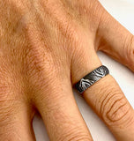 Silver Tree Roots Laser Engraved Silver Band by Rubini Jewelers