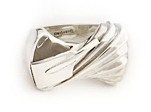 One of a Kind Twisted Step Wave with Hatchet Blade Rowing Ring by Rubini Jewelers