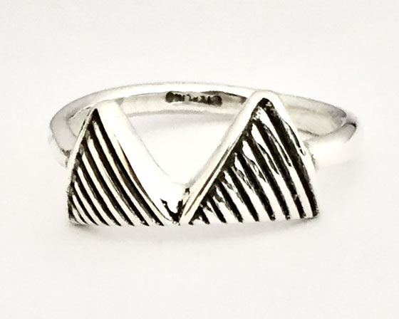 Two Striped Triangles Silver Ring by Rubini Jewelers
