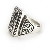 Silver Wiracocha Signet Style Ring by Rubini Jewelers, side view