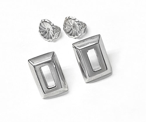 Silver Small Open Rectangle Frame Stud Earrings by Rubini Jewelers