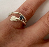 Small Rowing Oar Wrap Ring with Genuine Sapphire by Rubini Jewelers
