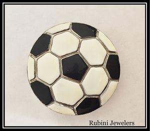 Antiqued Soccer Ball Enameled Belt Buckle from Rubini Jewelers