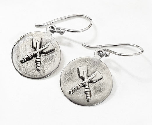 Sterling Silver Crossed Oars on Brushed Disc Wire Earrings by Rubini Jewelers