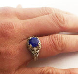 Sterling Silver and 14Kt Gold Faux Sapphire with Diamonds Antique Reproduction Ring Shown on Hand, by Rubini Jewelers