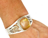 Rutilated Quartz Botanical Openwork Sterling Silver Cuff Bracelet at Rubini Jewelers