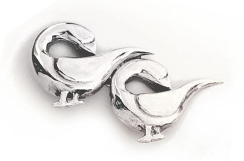Two Geese Sterling Silver Brooch by Rubini Jewelers