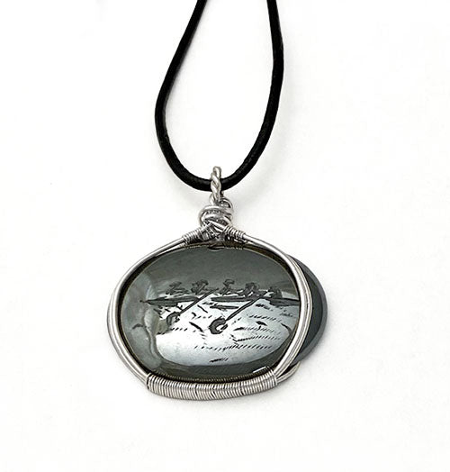 Hand Engraved Four with Coxswain Hematite Silver Rowing Necklace by Rubini Jewelers