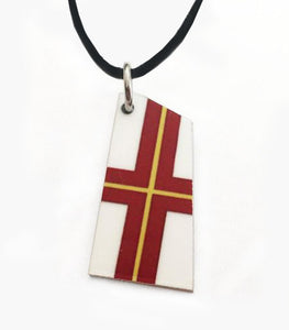 Custom Aluminum Rowing Team Oar Necklace on Cord by Rubini Jewelers