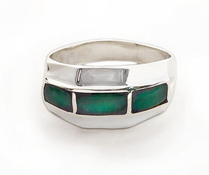 Three Chrysoprase Panel Inlay Silver Ring