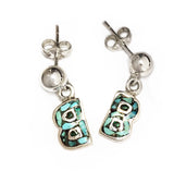 Silver B's with Turquoise Mosaic Inlay Dangle Earrings by Rubini Jewelers