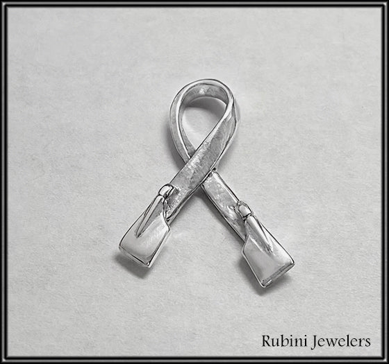 Twisted Ribbon with Rowing Hatchet Blades Pendant in Sterling Silver by Rubini Jewelers