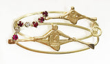 Gold Single Scullers with Diamonds and Rubies Rowing Brooch by Rubini Jewelers