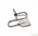 Silver River with Sapphire Rowing Pendant by Rubini Jewelers