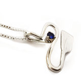 Silver River with Sapphire Rowing Pendant by Rubini Jewelers, sideview