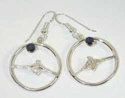 Single Scullers in Open Circle with Genuine Sapphires Dangle Rowing Earrings by Rubini Jewelers