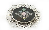 Vintage Mexican Sterling Silver Abalone Filigree Brooch