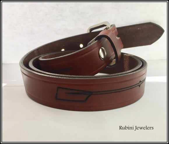 Grooved Warm Brown Leather Belt with Oars and Snap On Buckle from Rubini Jewelers