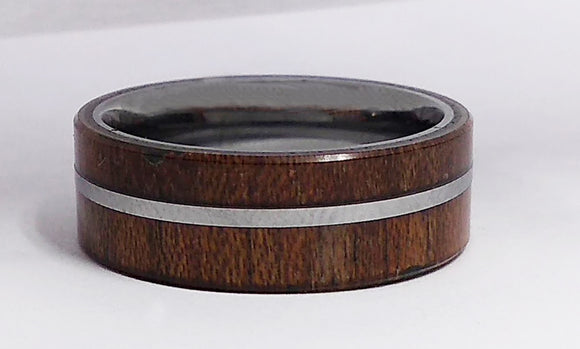 Tungsten Carbide and Wood Comfort Fit Band, by Rubini Jewelers.
