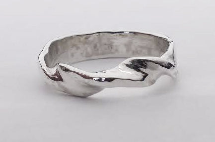 Spiral Design Hammered Silver Band