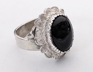 Floral Filigree Onyx Ring, by Rubini Jewelers