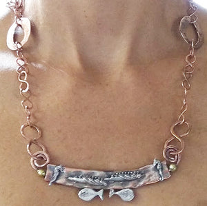 Copper Boats, Fish, & Sea Horses Necklace, by Rubini Jewelers