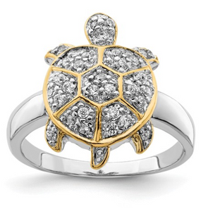 Cubic Zirconia and Vermeil Turtle Ring