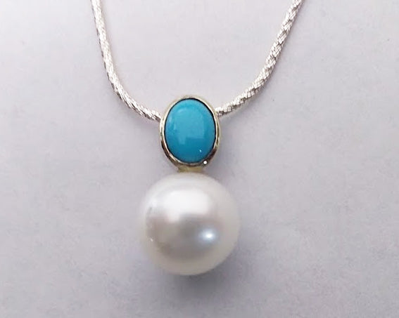 Turquoise and Fresh Water Pearl Pendant- White Gold, by Rubini Jewelers