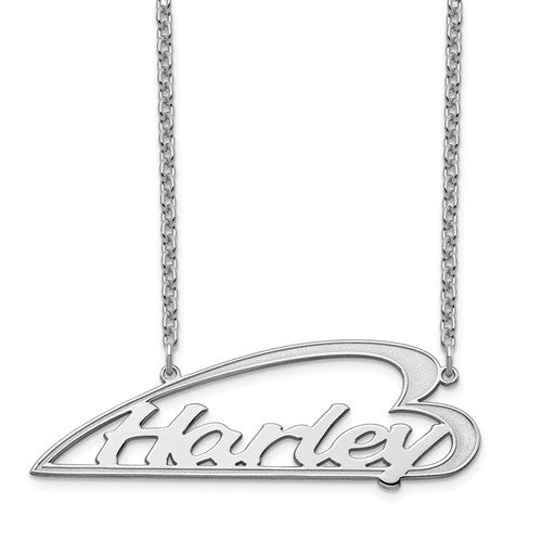 Personalized Side Heart Necklace- Sterling Silver