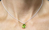 Oval Peridot in Basket Setting Pendant