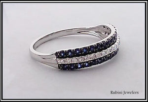 White Gold Diamonds and Double Row Sapphires Band from Rubini Jewelers