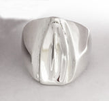 Rowing Tulip Blade Signet Style Ring in Sterling Silver by Rubini Jewelers