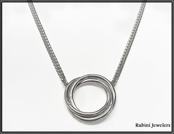Domed Curb Link Chain with Triple Wire Open Circle Necklace and Diamonds by Rubini Jewelers