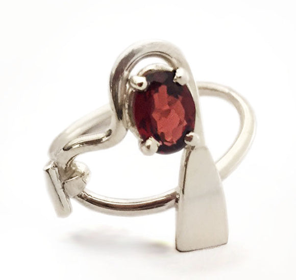 Dragon Boat Paddle Heart and Garnet Ring by Rubini Jewelers