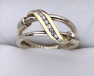 Two Tone Split Shank with Ribbon of Diamonds Ring, by Rubini Jewelers
