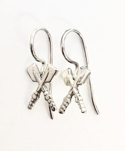 Petite Crossed Oars Soldered French Wire Earrings by Rubini Jewelers