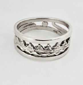 Eight Person Rowing Boat with Rims Ring by Rubini Jewelers