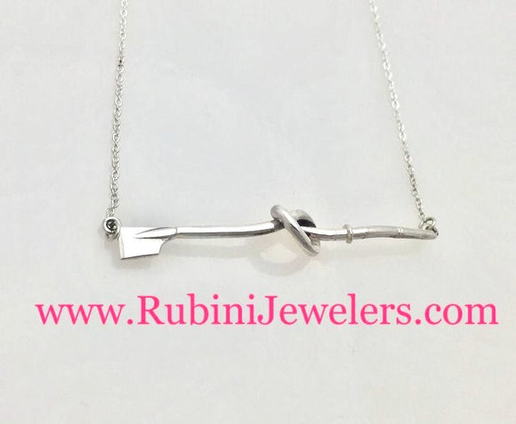 Rowing Hatchet Oar in a Knot Necklace Sterling Silver