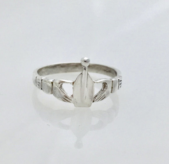 Sterling Silver Small Claddagh Rowing Ring by Rubini Jewelers