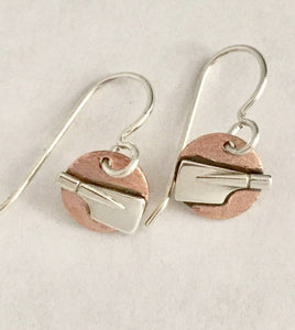 Tiny Copper Discs with Petite Silver Rowing Blades Dangle Earrings by Rubini Jewelers