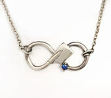 Silver Rowing Infinity with Sapphire Necklace by Rubini Jewelers