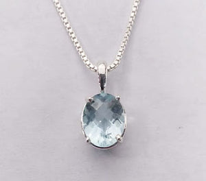 Faceted Aquamarine Sterling Silver Necklace
