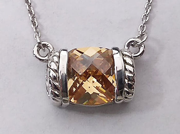 Sterling Silver Cushion Cut Peach Cubic Zirconia Necklace at Rubini Jewelers