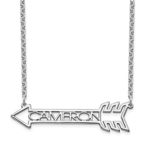 Personalized Name in Arrow Necklace- Sterling Silver