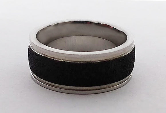 Stainless Steel Black Textured Ring, by Rubini Jewelers